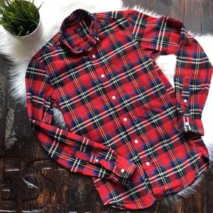 J. CREW Oxford Plaid Button Shirt Slim XSmall EUC